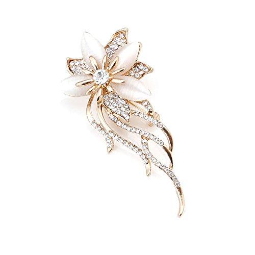 Tebatu Fashion Brooch Pin,Vintage Rhinestone Cat's Eye Stone Wedding Bridal Bouquet Flower Brooch Pin ()