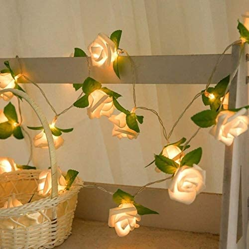 Newbrand LED Light Paulclub Rose Flower Battery Powered Fairy Lights Wedding Home Birthday Party Garland Decor String Lamp Warm White