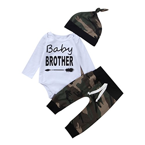 3PCS Newborn Baby Boys Cute Little Brother Romper+Camouflage Pants+Hat Outfits Set (0-6 Months, Camo)