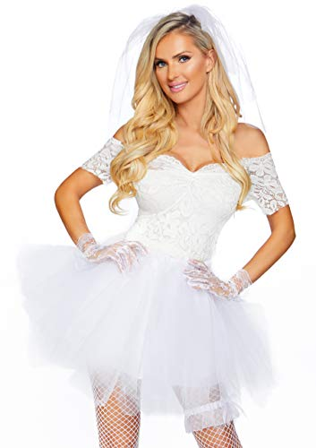 Leg Avenue Women's 4 Pc Blushing Bride Costume, White, Small/Medium]()