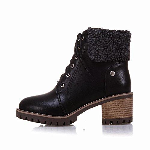 Charm Foot Womens Comfort Lace Up Zipper Chunky High Heel Short Boots Black FBMjHx
