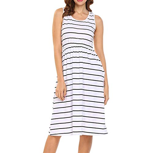 TANGSen Women's Casual O-Neck Sleeveless Dress Ladies Loose Striped Fashion Maxi Dress with Pocket(White,M)