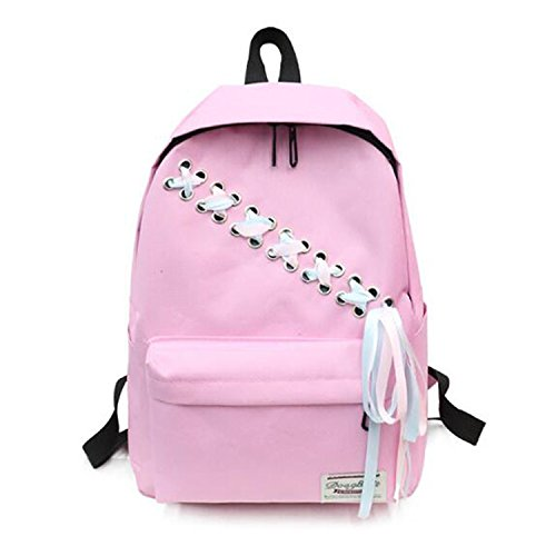 Style Canvas Backpack Teenager Girls Ribbon Decor Casual Women Shoulder Bag School Knapsack Travel Backpacks Pink 27X12X38Cm
