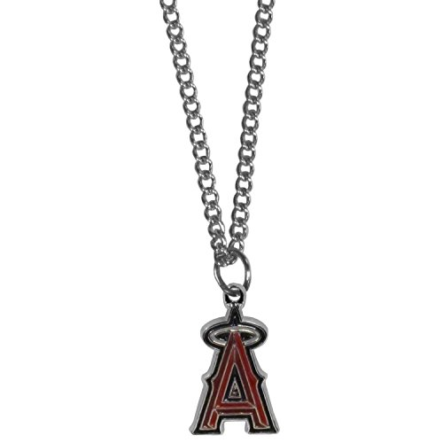 Angel Enameled Pendant (MLB Los Angeles Angels Women's Chain Necklace with Small Pendant, 20