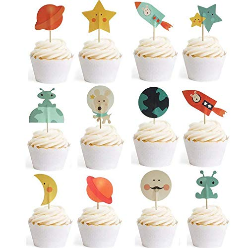 Outer Space Themed Snacks (Astra Gourmet Space Cupcake Toppers, Rocket Cupcake Decoration, Outer Space Themed Party Supplies Planet Designs Cake Picks, Dessert, Sandwich Decoration, 24)