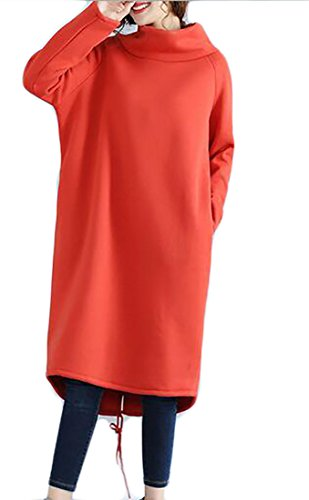 Jaycargogo Occasionnel Lâche Manches Longues Col Haut De Femmes Tricotée Robe Pull 1