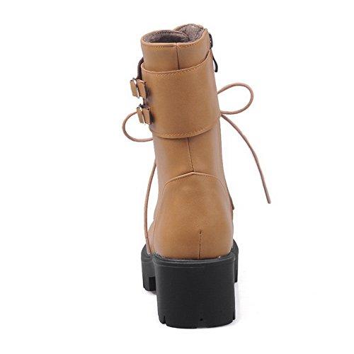 Boots Bandage Yellow BalaMasa Heels Chunky Imitated Buckle Platform Womens Leather qxHRxwv8