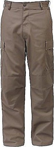 Khaki Solid Military Rip-Stop BDU Cargo Bottoms Fatigue Trouser Pants