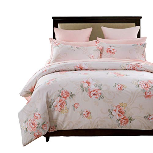 SexyTown Botanical Garden Modern Floral Printed Duvet Cover Pink Girls Flower Bedding Sets Egyptian Cotton 800-Thread-Count Quilt Cover with Button Closure (King, Pink)