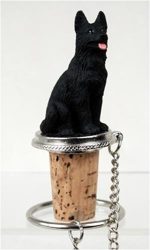 German Shepherd Black Wine Bottle Stopper DTB08D (Shepherd Wine)