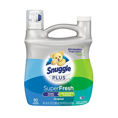 (Snuggle Plus Super Fresh Liquid Fabric Softener with Odor Eliminating Technology, Original, 95 Fluid Ounces, 90 Loads (Packaging May Vary) )
