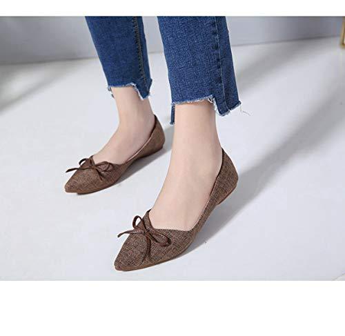 Femmes Dames Chaussures Flats Élégantes Marron Papillon Douces Noeud Mocassins AxzCdq