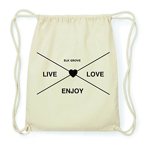 JOllify ELK GROVE Hipster Turnbeutel Tasche Rucksack aus Baumwolle - Farbe: natur Design: Hipster Kreuz