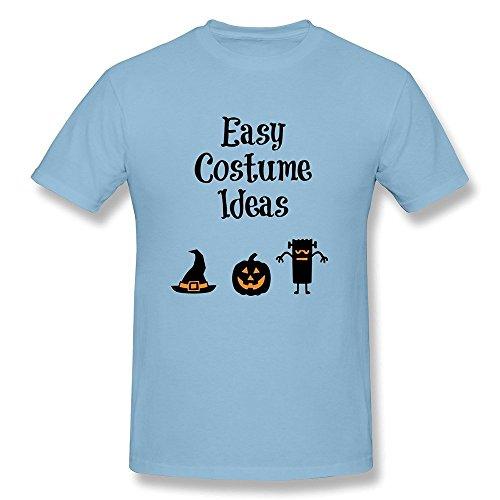 DASY Men's O Neck Easy Halloween Costume Ideas Tee Large SkyBlue (Halloween Costume Award Ideas)