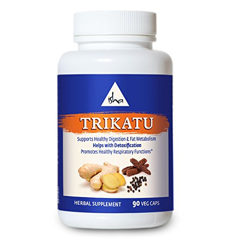 Isha Organic Trikatu Supplements - Promotes Digestion and Metabolism, Supports Detoxification and Cleansing, Aids Respiratory Function - Natural Herbal Supplement, 500 mg ea (90 Veg caps)