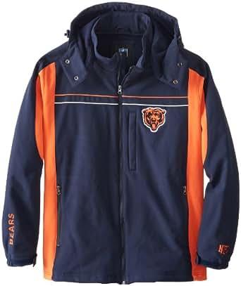 NFL Men's Chicago Bears Full Zip Softshell With Detachable Hood (Blue, Medium)