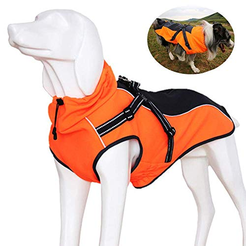 OSPet Dog Windproof Jacket Warm Coat with Harness Waterproof and Cozy Dog Sport Vest with Reflective Strips for Medium Large Dogs