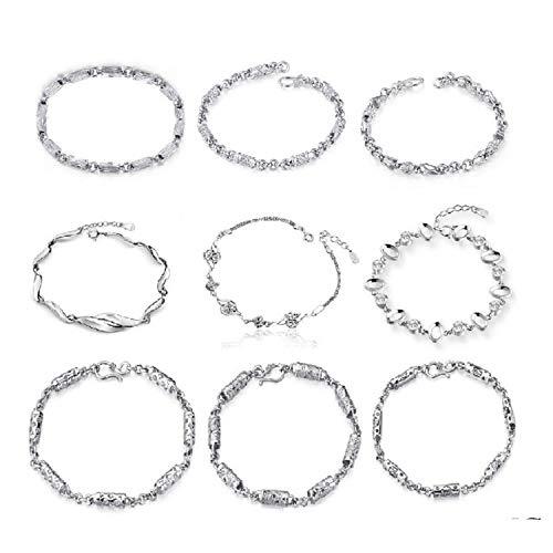 DLNCTD Woman Accessories Fashion Silver Bracelets for Women Bracelet Men Crystal Jewelry Wedding Bracelet Wholesale ()