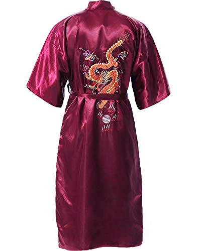 - MORCOE Men's Chinese Dragon Embroidered Satin Kimono Yukata Long Robe Soft Loungewear Nightgown Pajamas with Pockets Gift (Style1 Wine Red(one-Side wear))