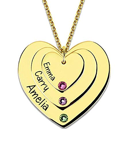 (DXYAN Personalised Family Necklace Birthstones Heart Necklace - Custom Made with Any Names(Golden|16.0 inches))