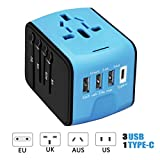 Travel Adapter, HAOZI International Power Adapter - 3 USB and 1 Type C in One Travel Charger with UK/US/AUS/EU Plugs and Socket,Universal Travel Adapter Wall Charger (Blue)
