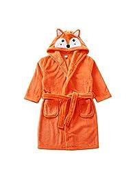 Vine Kids Robe Hooded Towels Unisex Bathrobe Flannel Sleepwear Pajamas