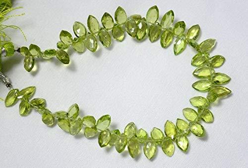 GemAbyss Beads Gemstone Peridot Marquise Shape Beads, Peridot Cut Marquise Beads 5x10mm, Faceted Marquise, Gemstone for Jewelry, 4 Inch Strand Code-MVG-24689