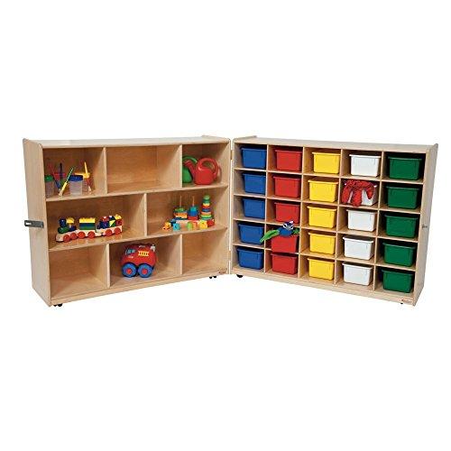 Wood Designs 23603 Tray & Shelf Folding Storage With 25 Assorted Trays
