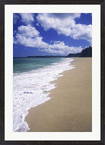 Lumahai Beach Kauai Hawaii USA Framed Art Print Wall Picture, Espresso Brown Frame, 29 x 40 inches