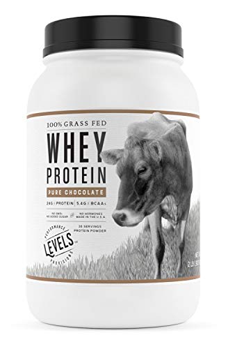 Levels 100% Grass Fed Whey Protein, No GMOs, Pure Chocolate, 2LB