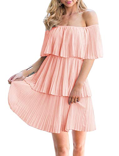(Soesdemo Women's Casual Off The Shoulder Sleeveless Tiered Ruffle Pleated Party Cocktail Dress Pink)