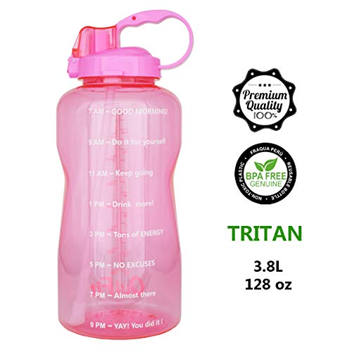 QuiFit 128oz Portable Drinking Straw Daily Water Bottle Sport Water Jug Gallon BPA Free Non Leak Design with Time Marked to Ensure You Drink Enough of Water Throughout The Day(Pink)