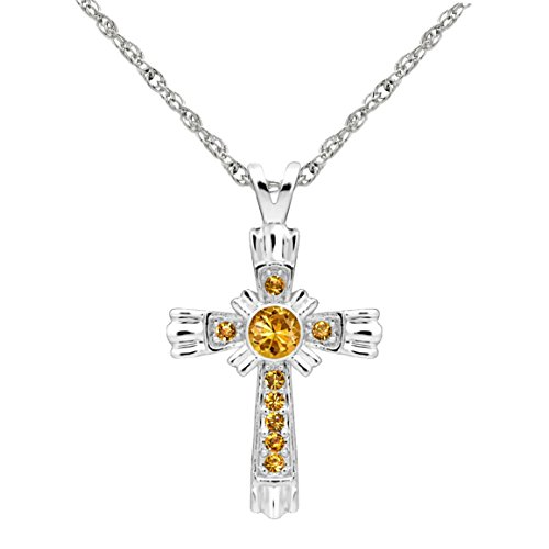 Forever Silver Austrian Crystal Birthstone Cross Necklace 18