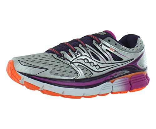 Saucony Women's Triumph ISO Running Shoe, Silver/Purple/Orange, 8.5 M - Orange Silver