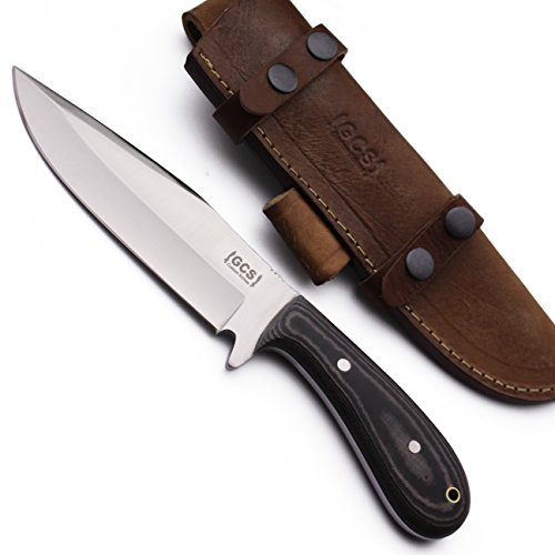 GCS Custom Handmade Black & White Micarta Handle D2 Tool Steel Skinner Bushcraft Knife Buffalo Hide Sheath 152