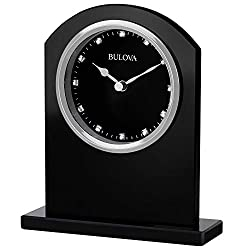 Bulova B5010 Ebony Crystal Desk Clock, Black