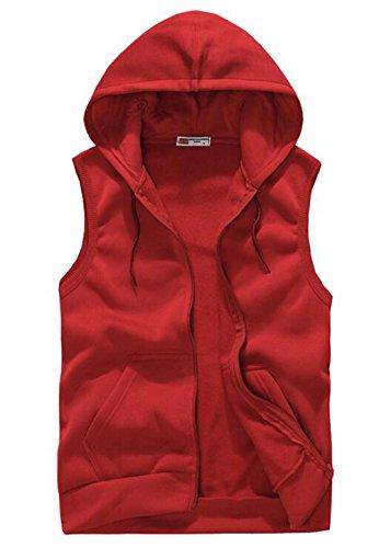 XQS Men's Sport Sleeveless Zip Up Hoodie Cardigan Vest US M Red (Blue Hoodie Vest)