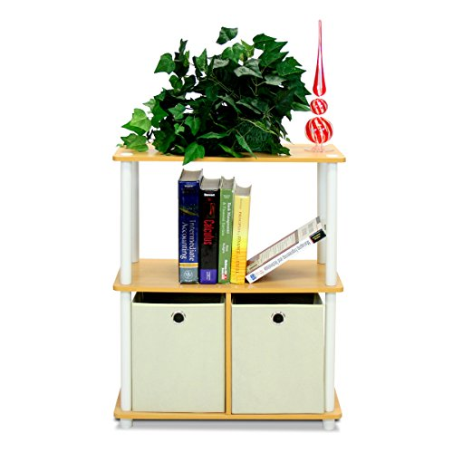 Furinno 99152BE/WH/IV 3-Tier Go Green Multipurpose Storage Rack Shelving Unit Bookshelf Cabinet with 2 Bins, Beech Finish ()