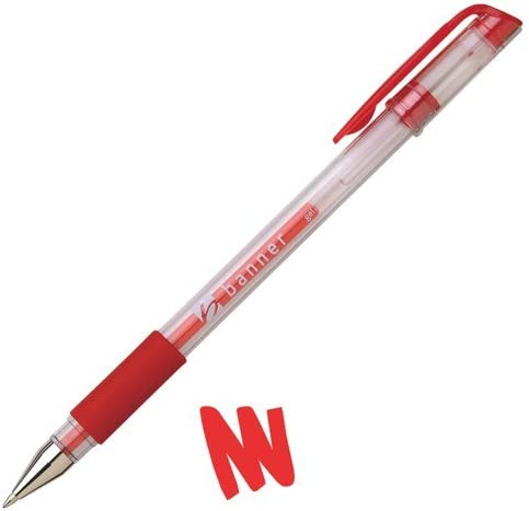 Bandera bolígrafo de tinta Gel empuñadura de goma rojo , 9240029 ...