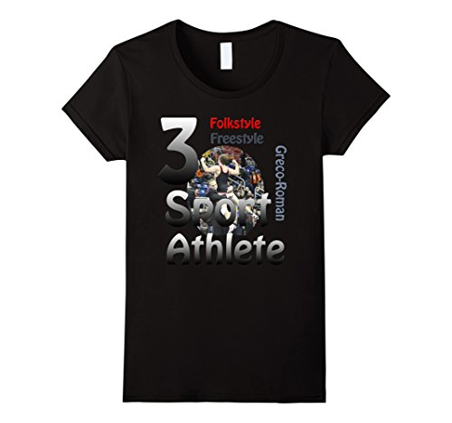 Women's 3 Sport Athlete Wrestling T-Shirt Large Black