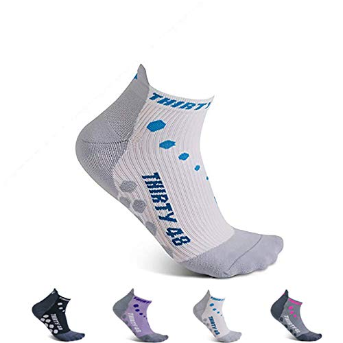 Thirty 48 Compression Low-Cut Running Socks for Men and Women (Small - Women 5-6.5 // Men 6-7.5, [1 Pair] Blue/White) by Thirty 48 (Image #8)
