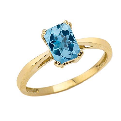 Fine 10k Yellow Gold 1 ct Emerald Cut December Birthstone Statement Ring (Size 9.5)