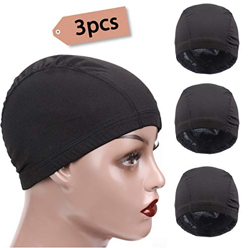 3 Packs Small Spandex Dome Style Wig Cap, Ultra Stretch Dome Cap for Making Wigs, Elastic Hairnets Wig Caps for Men Women ()