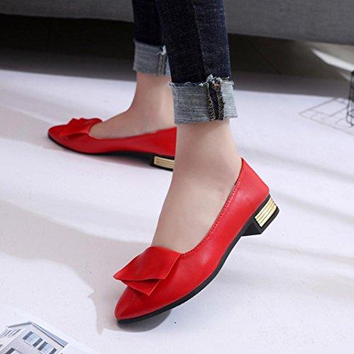 Bureau Mocassins Pointues Sexy Chaussures Été Lady Affairs Ballerines D'été OL Dress Femmes Orteils Mariage QinMM Bureau Pompes de Slip Pointues Dame Rouge Partie f6w51Stqx