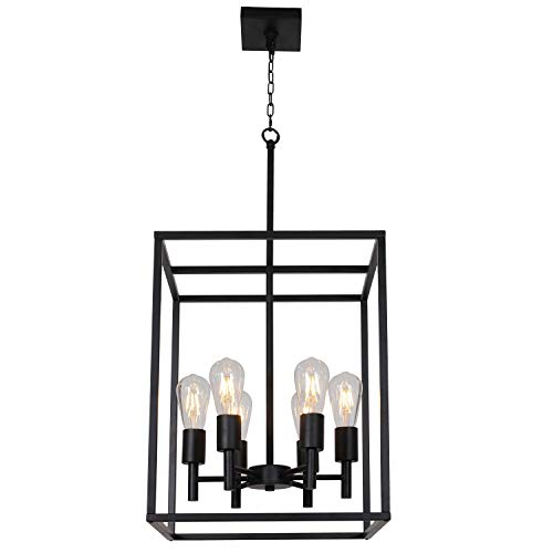 (TODOLUZ 6 Lights Large Cage Foyer Pendant Light 16 Inches Hallway Farmhouse Chandelier Lighting Entryway Ceiling Lamp Black for Kitchen Dining Room Entryway)