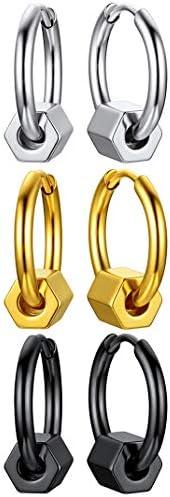 Stainless Steel Hinged Huggie Hoop Earrings for Men Women Punk Dangle Spikes/Cross Piercing Earring Set