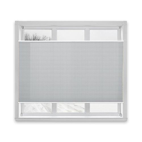 casa pura® Plissee Rollo | mit eleganter Crushed Optik | auch ohne Bohren anbringbar | lichtdurchlässig & blickdicht | hellgrau | 24 Größen (65x200cm)
