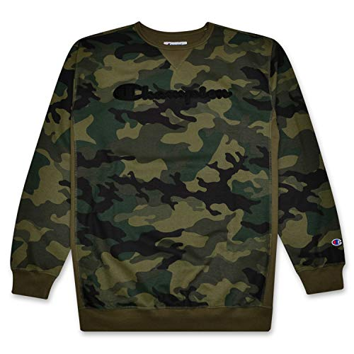 Champion Mens Big and Tall Camo Crewneck Sweatshirt Embroidered Script Logo FIG CAMO LT
