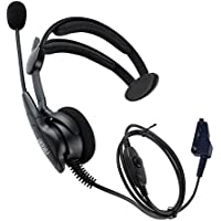 Coodio Over-the-Head Earpiece Headset [Swivel Boom Microphone] [Noise Cancelling] For Kenwood Systems Connector 2 Way Radio