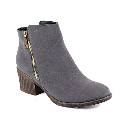 Reneeze Pama-01 Women's Zipper Stacked Chunky Heels Strappy Ankle Booties,Grey,7